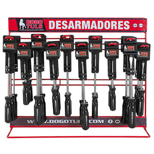 EXHIBIDOR DE DESARMADORES MANGO NEGRO 60 PZ