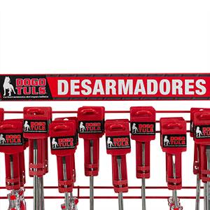 EXHIBIDOR DE DESARMADORES MANGO ROJO 60 PZS