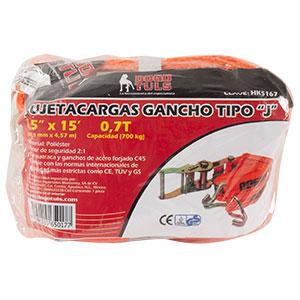 SUJETACARGA DE MATRACA CON GANCHO TIPO J CAPACIDAD 0,7T  (700KG)